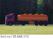 Fuel truck is driving along a road in the forest. Стоковое фото, фотограф Юрий Бизгаймер / Фотобанк Лори