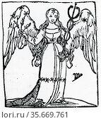 Zodiac sign of Virgo .  From 'Sphaera mundi', Strasburg, 1539. Редакционное фото, агентство World History Archive / Фотобанк Лори