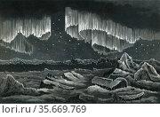 Curtain Aurora Borealis viewed in the Arctic Circle c1890. Редакционное фото, агентство World History Archive / Фотобанк Лори