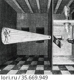 First illustration  of a Magic Lantern. From 'Ars magna', Amsterdam, 1671, by Athanasius Kircher. Редакционное фото, агентство World History Archive / Фотобанк Лори