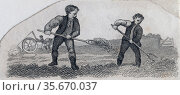 Spreading Manure. Engraving 1825. Редакционное фото, агентство World History Archive / Фотобанк Лори