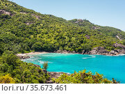 Anse Major beach - one of the many scenic beaches decorated with granitic... Стоковое фото, фотограф Valeriy Tretyakov / easy Fotostock / Фотобанк Лори