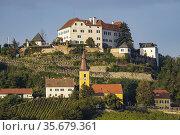 Kapfenstein castle and church with vineyard, Styria, Austria. Стоковое фото, фотограф Richard Semik / easy Fotostock / Фотобанк Лори