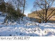 Winter landscape, Lippe, Marl, Ruhr area, North Rhine-Westphalia, Germany. Редакционное фото, агентство Caro Photoagency / Фотобанк Лори