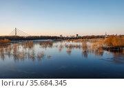 Winter landscape, Lippe, Wesel, Ruhr area, North Rhine-Westphalia, Germany. Редакционное фото, агентство Caro Photoagency / Фотобанк Лори