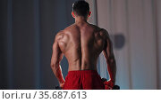Sports training - athletic shirtless man training his hands muscles with the dumbbells - view from the back. Стоковое видео, видеограф Константин Шишкин / Фотобанк Лори