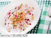 Granola with dried fruits and milk. Стоковое фото, фотограф Яков Филимонов / Фотобанк Лори