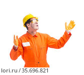 Contractor employee wearing coveralls isolated on white. Стоковое фото, фотограф Elnur / Фотобанк Лори