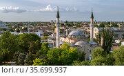 minaret of Juma-Jami Mosque in City of Yevpatoria on the Peninsula Crimea (2020 год). Редакционное фото, фотограф katalinks / Фотобанк Лори