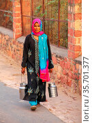 Local woman carrying milk jugs in the street of Fatehpur Sikri, Uttar... Стоковое фото, фотограф Zoonar.com/Don Mammoser / age Fotostock / Фотобанк Лори