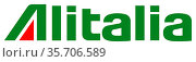 Logo of the Italian airline Alitalia based in Fiumicino - Italy. Стоковое фото, фотограф Peter Probst / age Fotostock / Фотобанк Лори