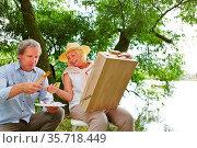 Alte Frau und alter Mann malen in der Natur ein Bild im Sommer. Стоковое фото, фотограф Zoonar.com/Robert Kneschke / age Fotostock / Фотобанк Лори