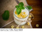 Sweet homemade yogurt with candied fruits in a glass. Стоковое фото, фотограф Peredniankina / Фотобанк Лори