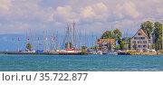 Schiffsanlegestelle Bottighofen, Bezirk Kreuzlingen, Kanton Thurgau... Стоковое фото, фотограф Zoonar.com/Falke / age Fotostock / Фотобанк Лори