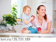 Familie mit Mutter und Tochter beim Apfel essen in der Küche. Стоковое фото, фотограф Zoonar.com/Robert Kneschke / age Fotostock / Фотобанк Лори