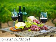 Red wine, cheese, bread and grapes against vineyard. Стоковое фото, фотограф Яков Филимонов / Фотобанк Лори