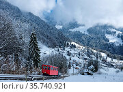 Switzerland, Vaud, Waadt, hiver, winter, neige, Schnee, snow, funiculaire... Стоковое фото, фотограф Stephan Engler / age Fotostock / Фотобанк Лори