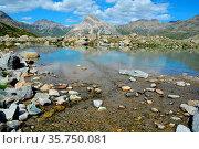 The Piz Lagalb above the Bernina Pass south of St Moritz with lake... Стоковое фото, фотограф Neil Harrison / age Fotostock / Фотобанк Лори