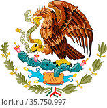 National coat of arms of the United Mexican States. (2019 год). Редакционное фото, фотограф Peter Probst / age Fotostock / Фотобанк Лори