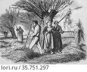 Haymaking, the picturesque magazin, editor edouard charton, 1860. (2009 год). Редакционное фото, фотограф Louis Bertrand / age Fotostock / Фотобанк Лори