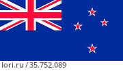 National flag of New Zealand. (2019 год). Редакционное фото, фотограф Peter Probst / age Fotostock / Фотобанк Лори