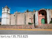 San Pedro de Alcantara Church in Cabanaconde near Colca Canyon, Peru. Стоковое фото, фотограф Zoonar.com/Don Mammoser / age Fotostock / Фотобанк Лори