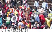 Kumbh Mela Haridwar India. Sadhus or Saints of Akharas, Kinnars taking bath in Holy Water of River Ganges. Appleprores 422 Cinetone 60fps. Редакционное видео, видеограф Devendra Rawat / Фотобанк Лори