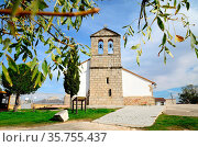 Church of San Pedro Apostol in Sieteiglesias, Lozoyuela-Las Navas... Стоковое фото, фотограф Pablo Méndez / age Fotostock / Фотобанк Лори