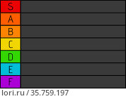 Composition of colourful tier list with black letters and black grid and background. Стоковое фото, агентство Wavebreak Media / Фотобанк Лори