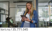 Caucasian businesswoman leaning in doorway using tablet, smiling to camera in busy office. Стоковое видео, агентство Wavebreak Media / Фотобанк Лори