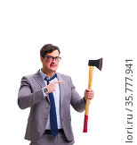 Angry businessman with axe isolated on white. Стоковое фото, фотограф Elnur / Фотобанк Лори