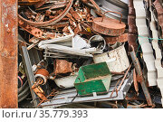 Pile of metal waste before recycling. Стоковое фото, фотограф Евгений Харитонов / Фотобанк Лори