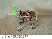 Магазинная тележка, полная денежной мелочи, на сером фоне. Стоковое фото, фотограф Зобков Георгий / Фотобанк Лори