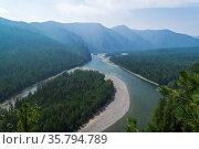 Aerial view to the valley of the Sayan Oka river. East Sayan, Buryatia... Стоковое фото, фотограф Zoonar.com/Sergey Rybin / age Fotostock / Фотобанк Лори