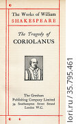 Title page from the Shakespeare play Coriolanus. From The Works of... Редакционное фото, фотограф Classic Vision / age Fotostock / Фотобанк Лори