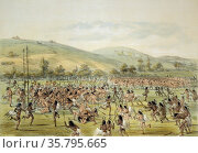 Native Americans playing a ball game similar to lacrosse, near Fort... (2020 год). Редакционное фото, фотограф Classic Vision / age Fotostock / Фотобанк Лори