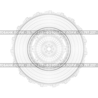 3D wire-frame model of tractor tire on white background