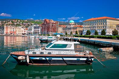 City of Trieste waterfront and harbor view, Friuli Venezia Giulia...
