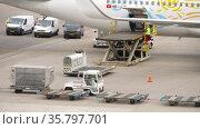 TUI Fly Boeing 767 unloading an aircraft (2017 год). Редакционное видео, видеограф Игорь Жоров / Фотобанк Лори