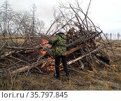 Сжигание порубочных остатков. Стоковое фото, фотограф Бабкина Марина / Фотобанк Лори