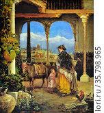 Rafael Enriquez, Un Patio Andaluz, 1886. Oil on canvas. Редакционное фото, агентство World History Archive / Фотобанк Лори