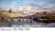 Carnarvan (Caernarvon) by John Brett, A.R.A. (1831-1902) Oil on canvas. Редакционное фото, агентство World History Archive / Фотобанк Лори