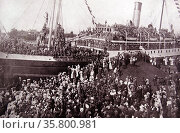 RMS Victorian used in World War I as an auxiliary cruiser; to transport troops and cargo. Редакционное фото, агентство World History Archive / Фотобанк Лори