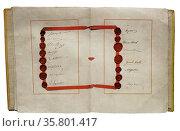 Treaty of Versailles with signatures of japanese; Belgian; Bolivian; Brazilian and Italian delegates. Редакционное фото, агентство World History Archive / Фотобанк Лори