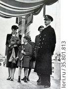 King Haakon; Crown Princess Martha; Prince Olav; and Prince Harald of Norway. Редакционное фото, агентство World History Archive / Фотобанк Лори