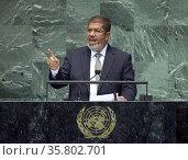 Former Egyptian President Mohamed Morsi addressing the UN 2012. Редакционное фото, агентство World History Archive / Фотобанк Лори
