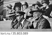 The Duke of York shown seated with Lord Baden-Powell. Редакционное фото, агентство World History Archive / Фотобанк Лори