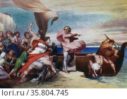 Painting titled 'Alfred Inciting the Saxons to Prevent the Landing of the Danes' Редакционное фото, агентство World History Archive / Фотобанк Лори