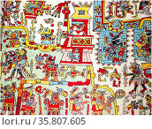 The Codex Zouche-Nuttall is an accordion-folded pre-Columbian 14th century, document of Mixtec pictography, Редакционное фото, агентство World History Archive / Фотобанк Лори