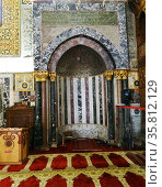 Mihrab or prayer niche in the Al-Aqsa Mosque. (2014 год). Редакционное фото, агентство World History Archive / Фотобанк Лори